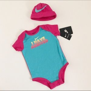 Nike Other - NWT! Nike turquoise/pink onesie and pink hat/cap