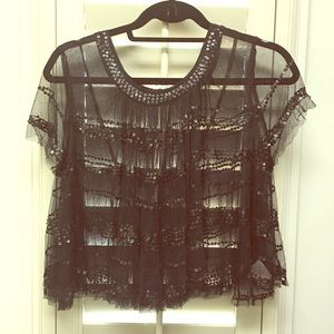 Free People black  mesh sequence crop top
