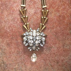 J Crew statement Crystal chevron necklace