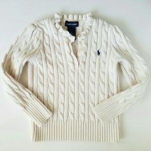 Ralph Lauren Other - Ralph Lauren Girls Ruffle Cable Knit Logo Sweater