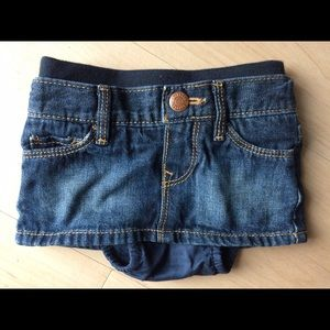 Skirts Baby Gap Flower Embroidered Adjustable Waist Jean Skirt W/ Diaper Cover Size 2t