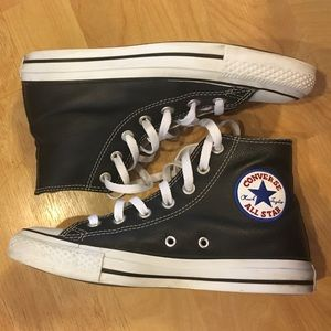 Converse Shoes - Black leather high top converse