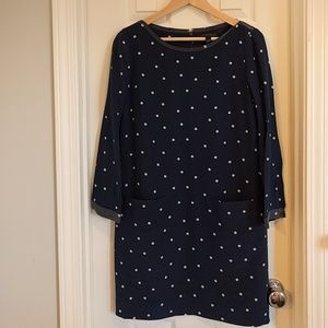 J. Crew navy cream polka dot shift dress pockets 6