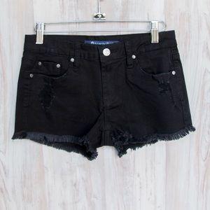 Blackdistressed denim shorts