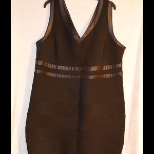 Black Tiered Bodycon Dress w/ Faux Leather detail