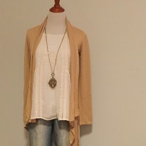 Belldini Belted Tan Cardigan Sweater