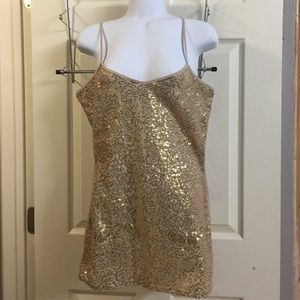 Gold sequin Tank with adjustable straps