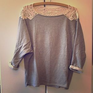 Tops - Grey sweatshirt with cream lace detail
