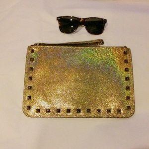 Rebecca Minkoff Handbags - Rebecca Minkoff Metallic Gold Stud Clutch Wristlet