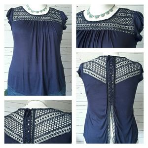 Blu Pepper Tops - 🅱 PLUS SIZE▪Cap Sleeve Top with Crochet Detail