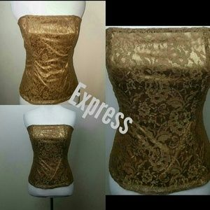 Express Tops - Express gold lace tube top shimmer bustier medium