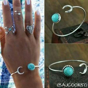 •2 for $15•Silver Half Moon Turquoise Cuff