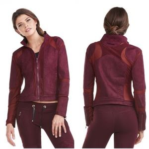 Electric Yoga Jackets & Blazers - Burgundy Mesh Suede Jacket