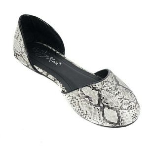Women Open Side Ballet Flats, b-1640, White