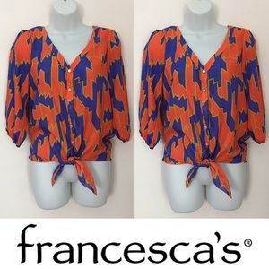 Francesca's Collections Tops - 🍍CLEARANCE🍍 Annabella Printed Button Up Tied Top