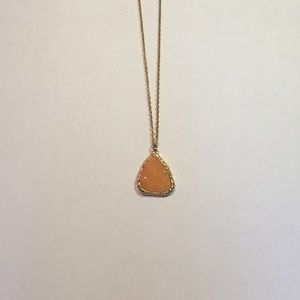 Orange druzy stone necklace