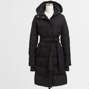 J. Crew Factory Jackets & Blazers - NWT J.Crew Women's Black Long Belted Puffer Jacket