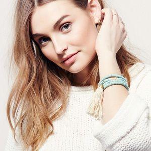Free People Jewelry - Free People pastel Seafoam Tassel bracelet