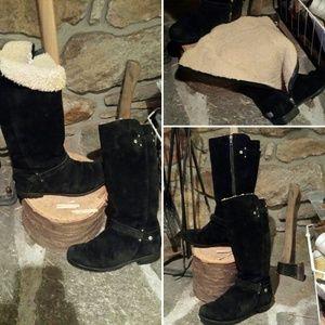 Tall black suede sheepskin Jillian Ugg winter boot