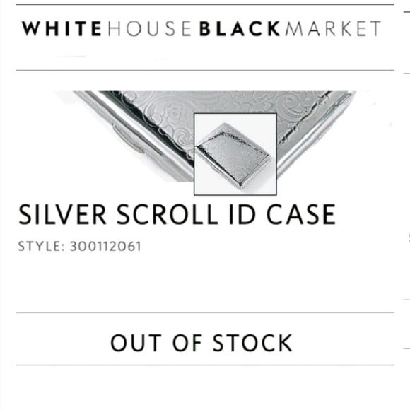 White House Black Market Silver Scroll ID Case