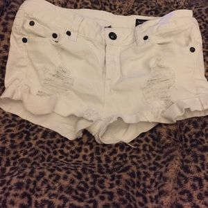Pants - White distressed Jean shorts size small