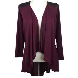 Sweaters - Plus Size Burgundy Lightweight Cardigan