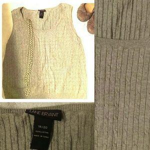 Plus size grey cable knit sweater vest