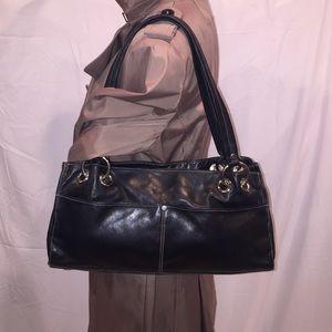 Perlina Handbags - Perlina Authentic Black Soft Leather Satchel