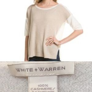 White + Warren Sweaters - White + Warren 100% cashmere, color block sweater