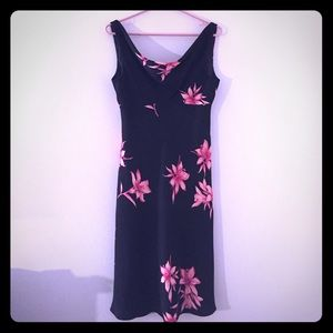 Jones New York Black Dress, Pink Flowers