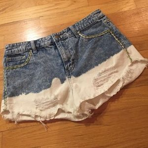 Free People shorts bleached, ripped & embellished