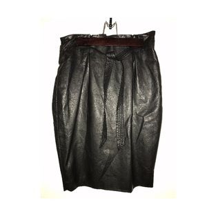 H&m leather pencil skirt with belt size 6