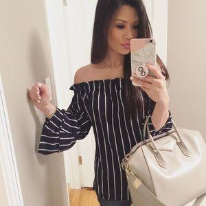 Stripe Off the Shoulder