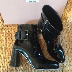 Miu Miu Shoes - Miu Miu / Prada Patent Leather Ankle Boots 40.5