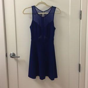 Electric Blue fit & flare  mesh short dress 