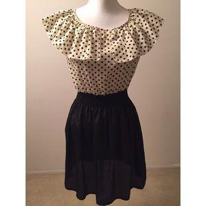 Finejo Black & Cream Polka Dot Bow Tie Back Dress