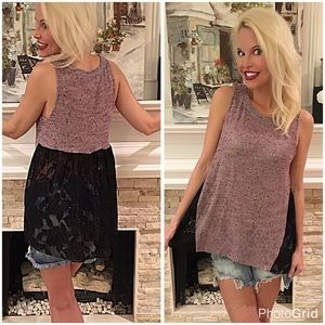 Darling mauve hi lo lace back tunic! 