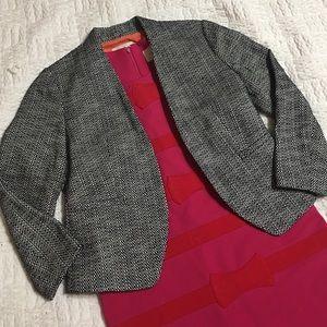 LOFT Gray Tweed Collarless Open Blazer Jacket