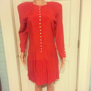 Final Price Vintage Red and White Pleated Dress