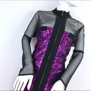Tadashi Shoji Dresses & Skirts - Tadashi Purple sequins bodycon Sheer Sleeves Dress