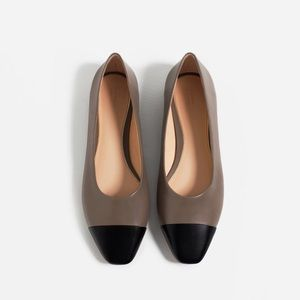 Zara Shoes - Leather taupe flats with black contrast toe