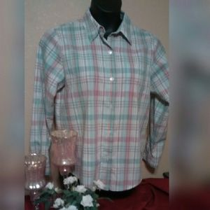 Alfred Dunner Tops - Pastel plaid button down blouse