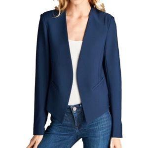 Jackets & Blazers - Modern Navy Blue Collarless, No Lapel Blazer