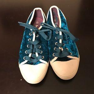 Boden size 41, teal blue velvet sneakers