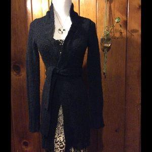 Free People Sweaters - Free People black mohair/ acrylic cardigan w/belt