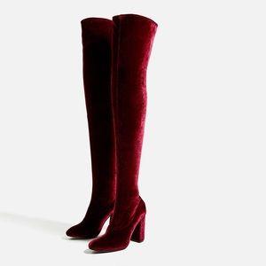Zara over the knee velvet stretch boots