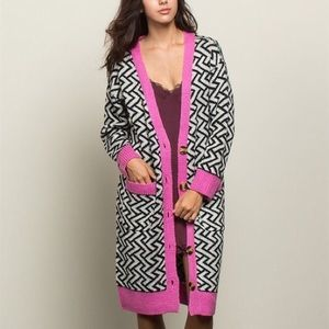 Sweaters - Abstract Print Longline Cardigan