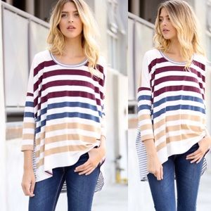 ❣️RESTOCK❣️ Striped Loose High Low Tunic Top