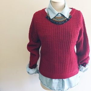 Flash Sale!Fitted red knit sweater!
