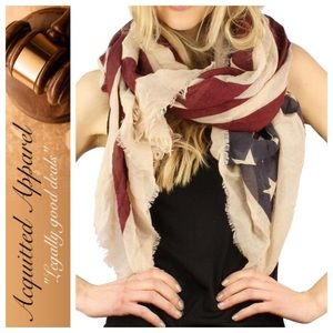 Acquitted Apparel Accessories - Americana Red White Blue Flag Antique look Scarf